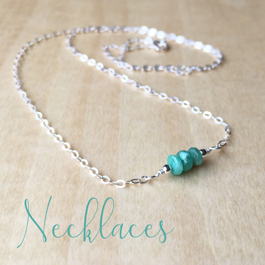 emerald gemstone memorial jewellery necklace link to shop page